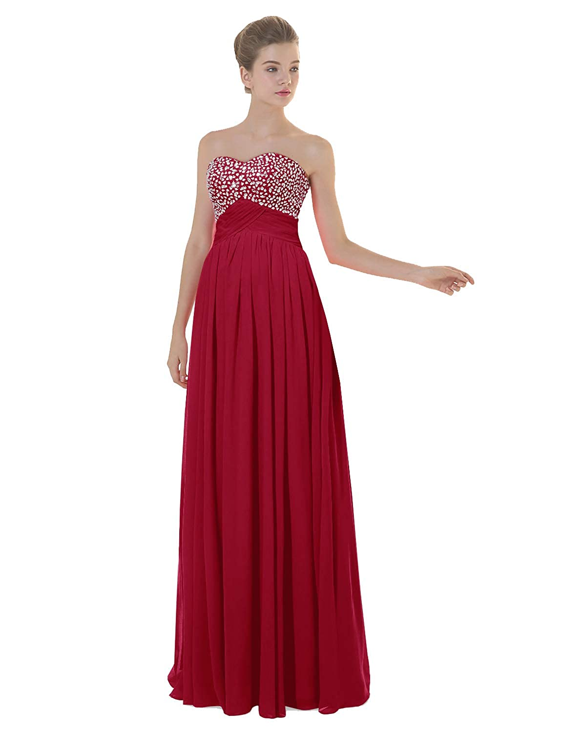 Dark Red ANGELWARDROBE Empire Beaded Sweetheart Neck Prom Gowns Long Evening Dresses Party Skirts