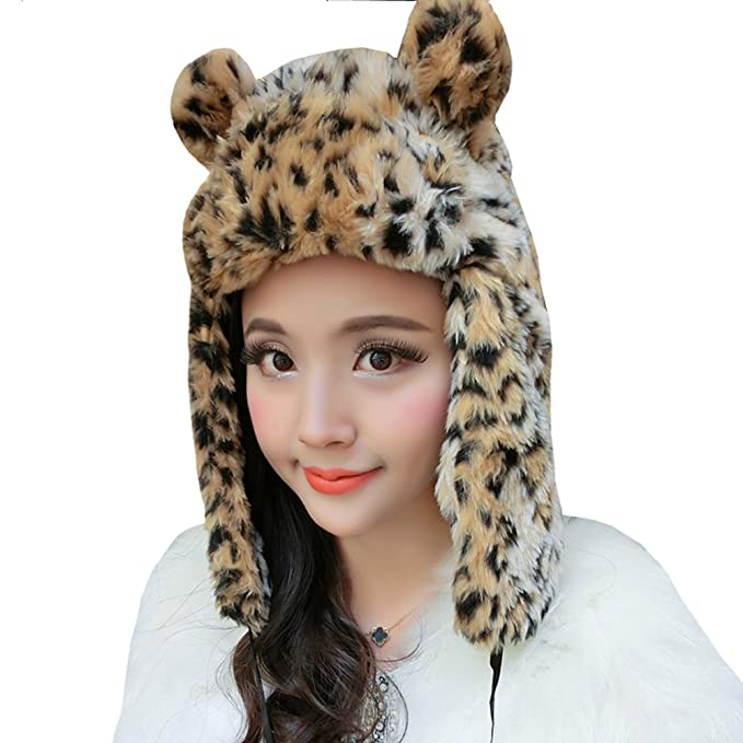 6c53952542e Image Unavailable. Image not available for. Color  Women Girl Fashion  Leopard Print Faux Fur Warm Trapper Hat Hunting ...