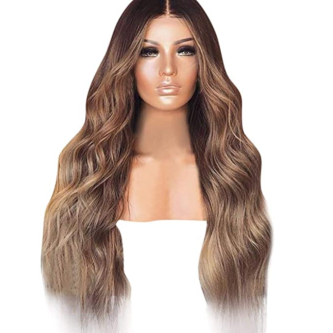 Amazon.com: Huphoon Women Full Wig,Sexy Gradient Blonde Nature Looking Wave Wigs Long Curly Hair Mixed Colors Synthetic Wig 27.6