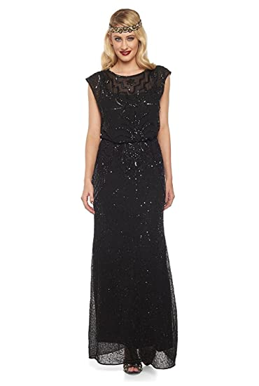 gatsbylady london Isla Vintage Inspired Maxi Prom Dress in Black (US8 EU40)