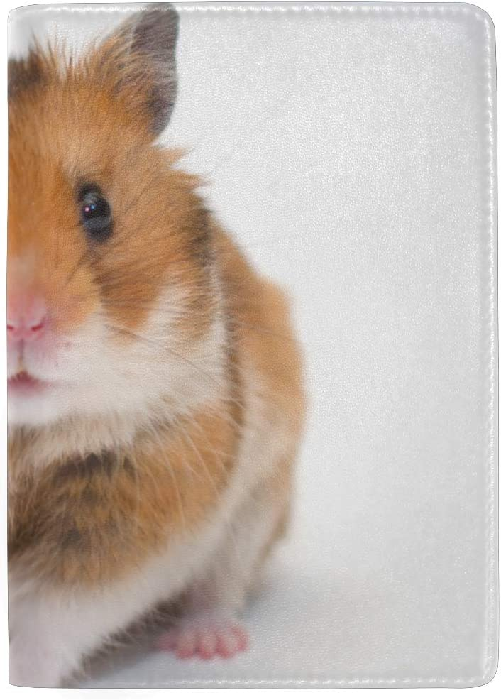 Cute Yellow Hairy Hamster Animal Blocking Print Passport Holder Cover Case Travel Luggage Passport Wallet Card Holder Made With Leather For Men Women Kids Family