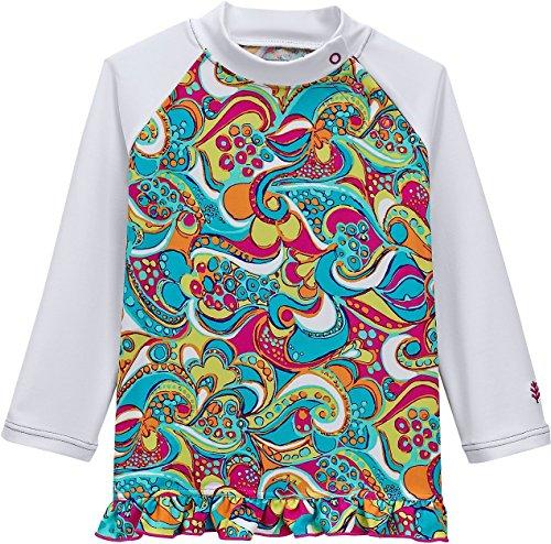 UPC 813719025956, Coolibar UPF 50+ Baby Girls Ruffle Swim Shirt - Sun Protective (6 Months - Retro Print)