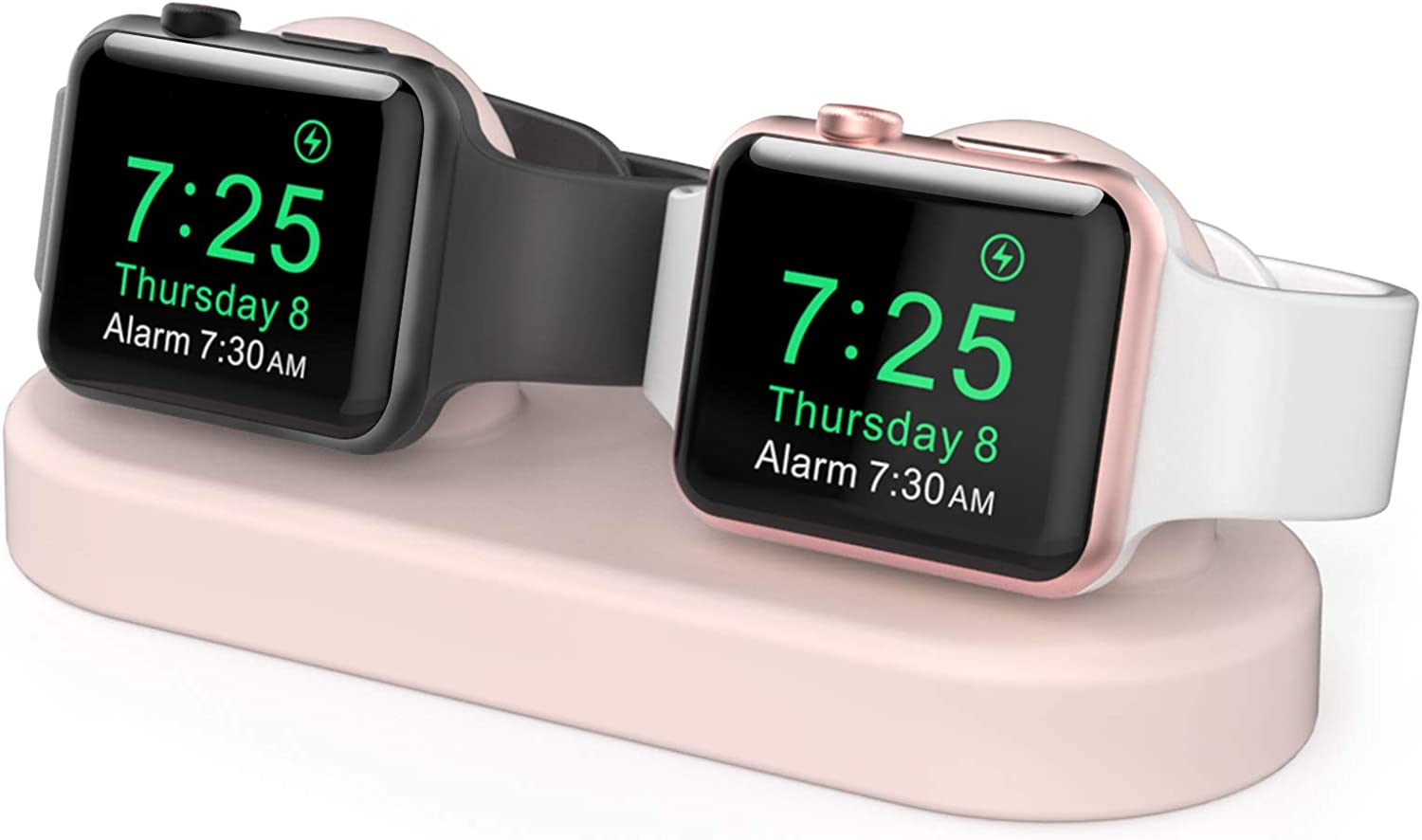 Delidigi Dual iWatch Charging Stand Dock Silicone Desk Holder Compatible with Apple Watch Series 6/5/4/3/2/1(44/42/40/38mm), Supports Nightstand Mode(Pink)