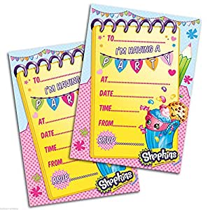 shopkins pack of 20 party invites with. Black Bedroom Furniture Sets. Home Design Ideas