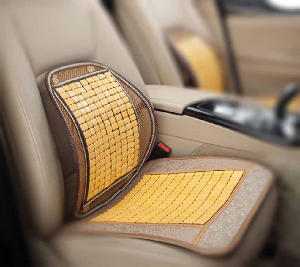 Yellow Car Seat Cover Cushion Back Support Waist Massage,Breathable Charcoal Bamboo Cool Mats Anti Slip Base.