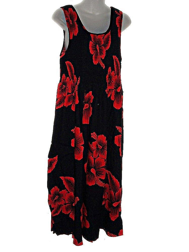 46c3ecf93af PLUS SIZE HAWAIIAN RED HIBISCUS TANK TOP LONG SUN DRESS (XL-2X) at Amazon  Women s Clothing store