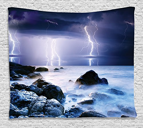 Lake House Decor Tapestry Wall Hanging by Ambesonne, Summer Storm Flashes over the Rocks in Ocean Nightmare Theme Weather Nature Image, Bedroom Living Room Dorm Decor, 80 W X 60 L, Purple and Blue (Storm Pictures)
