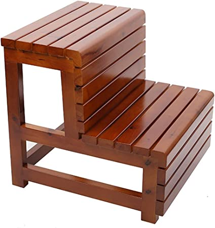 Taburete de escalera de madera maciza, Taburete multifunción de dos peldaños, Escaleras de cama para niños Escalera para mascotas Reposapiés antideslizante para oficina en el hogar Armario de cocina: Amazon.es: Hogar