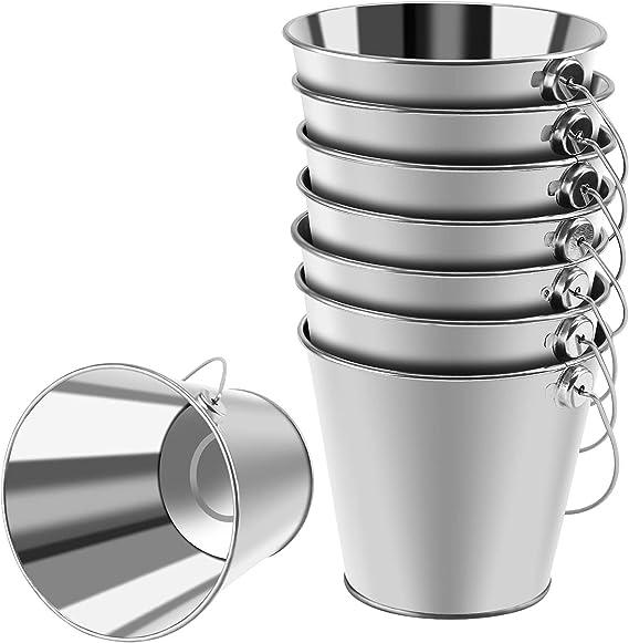 Paquete de 8 Cubos de Metal galvanizado con asa Wisolt Cubos de Metal peque/ños Mini Canasta Redonda para macetas para Plantas peque/ñas y Dulces y decoraci/ón de Fiestas en el hogar Colorido