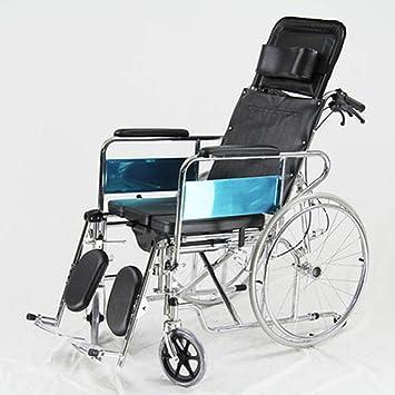 PANGU-ZC Silla de Ruedas reclinable con Respaldo Alto para Personas Mayores. Silla Plegable Ajustable para los Ancianos: Amazon.es: Hogar
