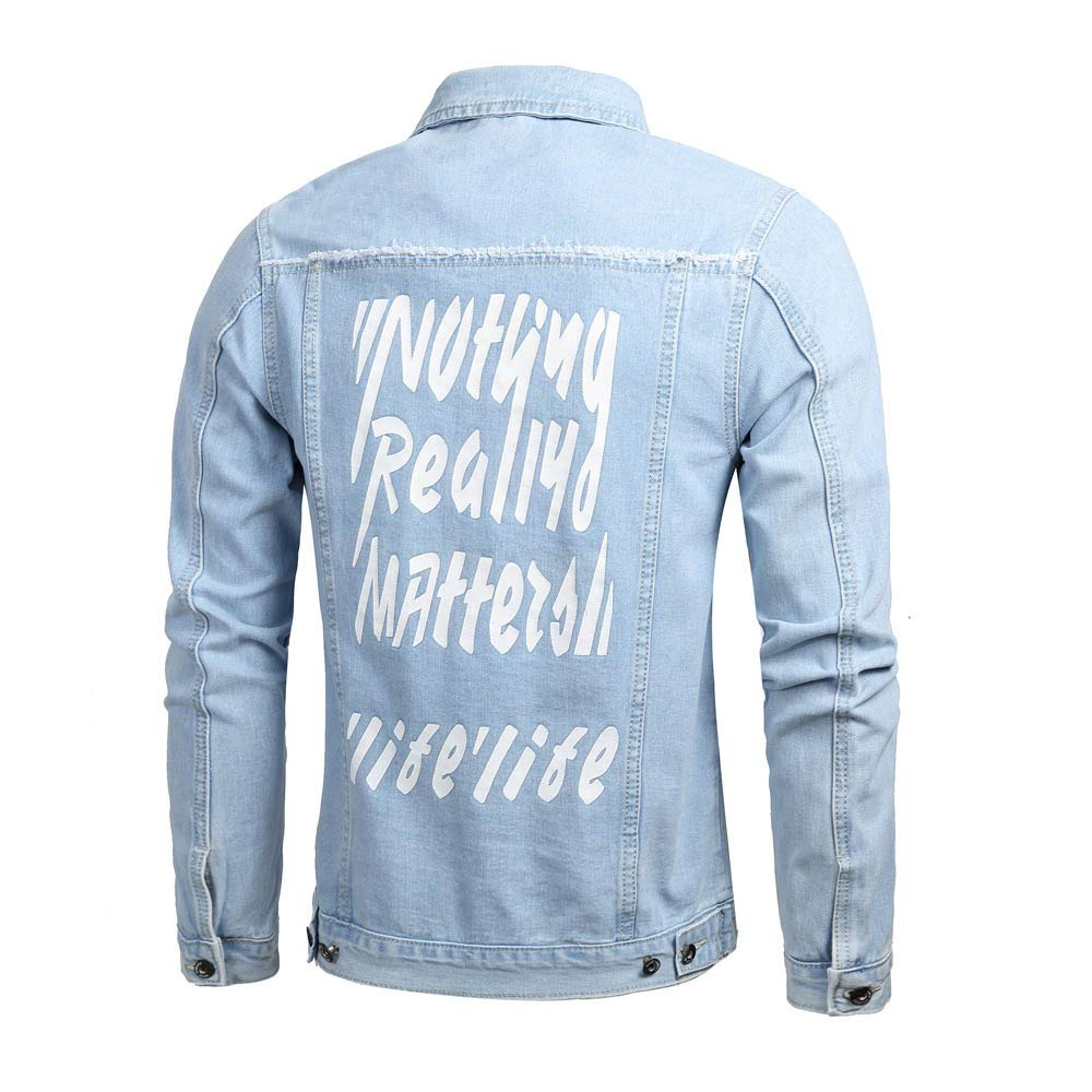 OSTELY Mens Jacket Turn-Down Collar Letter Denim Outwear Autumn Winter Casual Long Sleeve Slim Fitted Coat Tops
