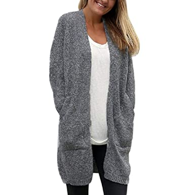 6fc242a726b915 KOERIM Womens Fuzzy Long Sleeve Open Front Long Knit Cardigan Coat with  Pockets at Amazon Women's Clothing store: