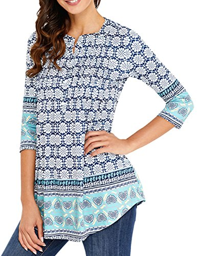 YAMALL Womens 3/4 Sleeve Boatneck Floral Tunic Tops Pleated Tunic Blouse Button (3/4 Sleeve Boatneck Tunic)