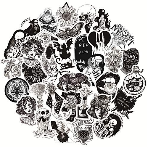 🥇 Black-and-White Gothic Retro Skull Sticker Vinyls Decals for Laptop