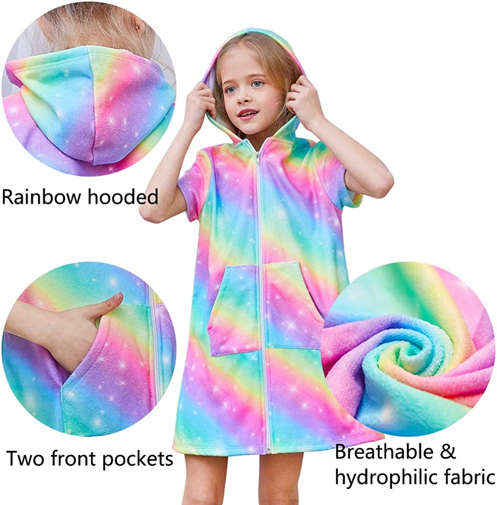 QtGirl Cover Up for Girls Hooded Terry Cloth Cover Ups Swimsuit Cover Ups Bathing Suit with Zipper for Girl Kids Rainbow