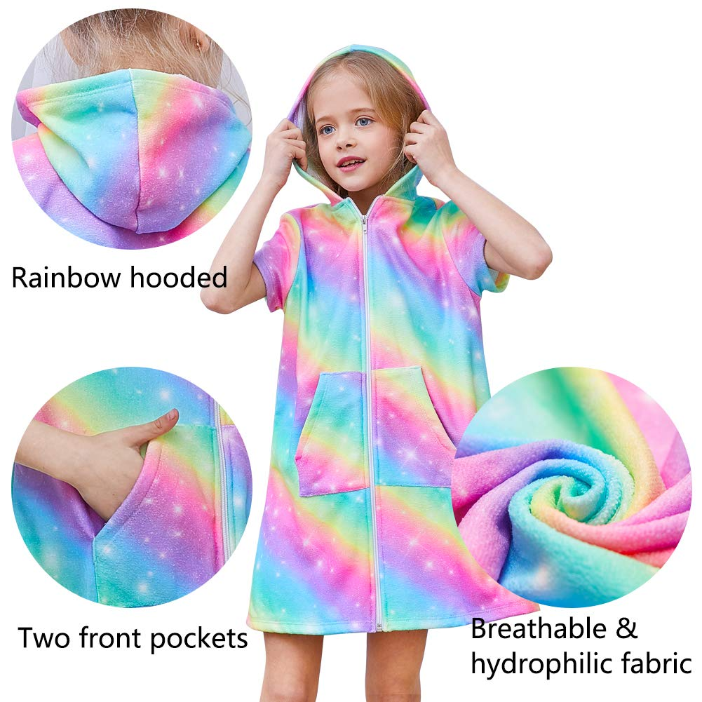 FIOBEE Unicorn Cover Up for Girls Terry Hooded Cover Ups for Kids Swimsuit Beach Dress with Zipper