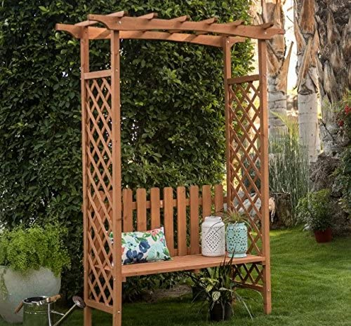 Traditional Outdoor 6.9-ft. Wood Arbor with Bench 60L x 47W x 83H in. Warm Brown Finish Assembly Required Bench weight capacity 250 lbs.