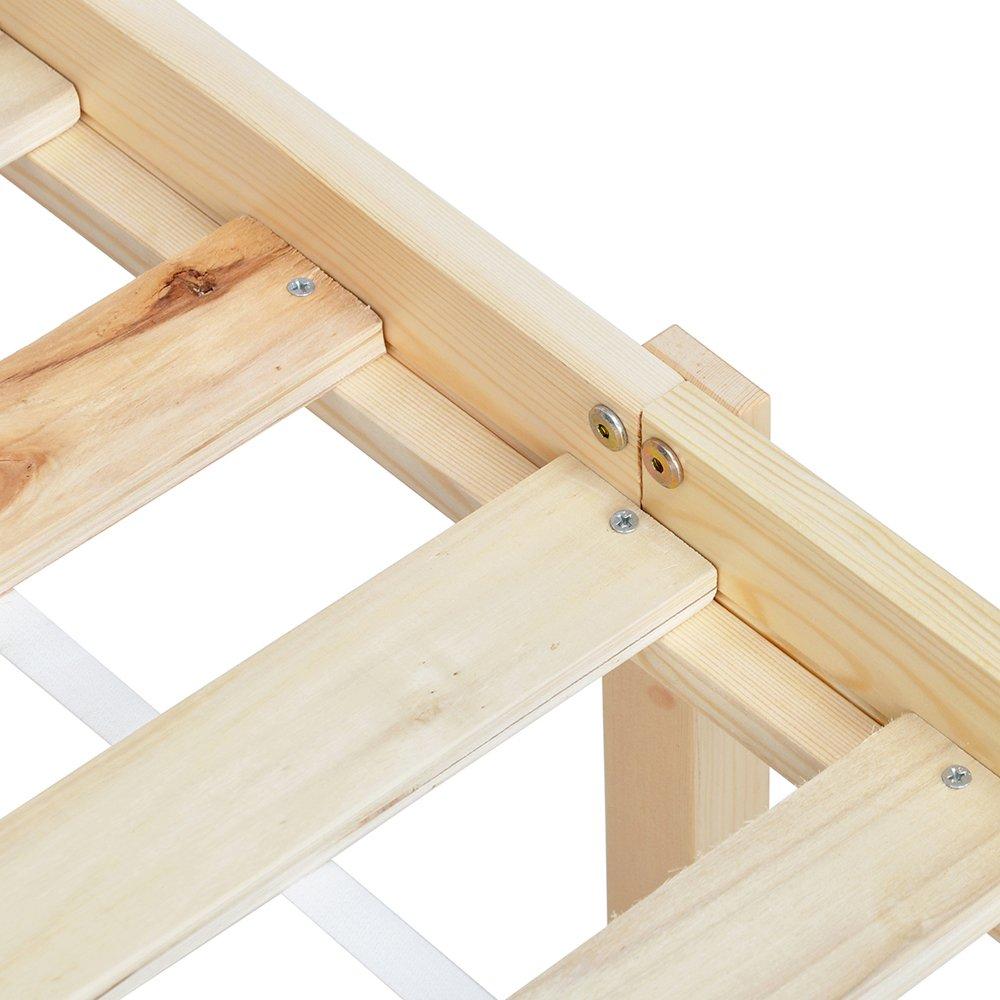 EGGREE Single Holz Bettgestell mit Kopfteil, (TM) Starke Struktur ...