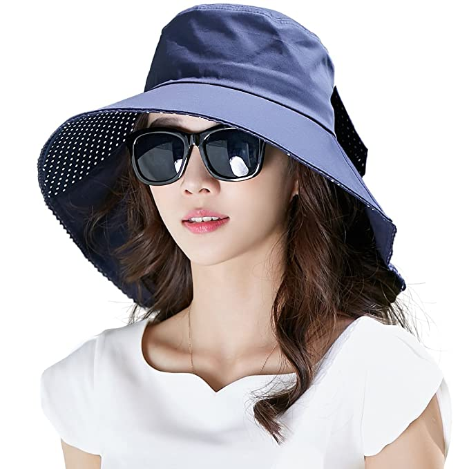 Womens Sun Protection Hats Summer Gardening Fishing Hiking Shade Hat SPF 50 Wide  Brim Packable Small b4414d2b7a33