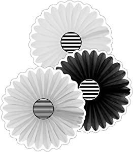 Schoolgirl Style Simply Boho Fans Cut-Outs—Assorted Black and White Festive Paper Fans, Bulletin Board Decorations, Classroom or Homeschool Decor (36 pc) (120611)