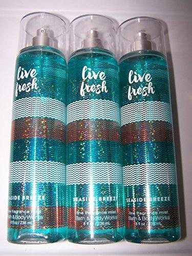 Lot of 3 Bath & Body Works Live Fresh Seaside Breeze Fine Fragrance Mist 8 fl oz- Coconut Water, Beach Blossoms, Nectarine, Musk