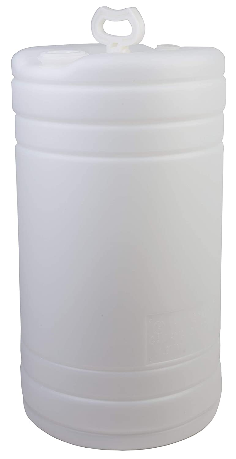 """Hudson Exchange 15 Gallon Tight Head Drum with 2"""" & 3/4"""" Fittings, UN Rated, HDPE, Natural"""