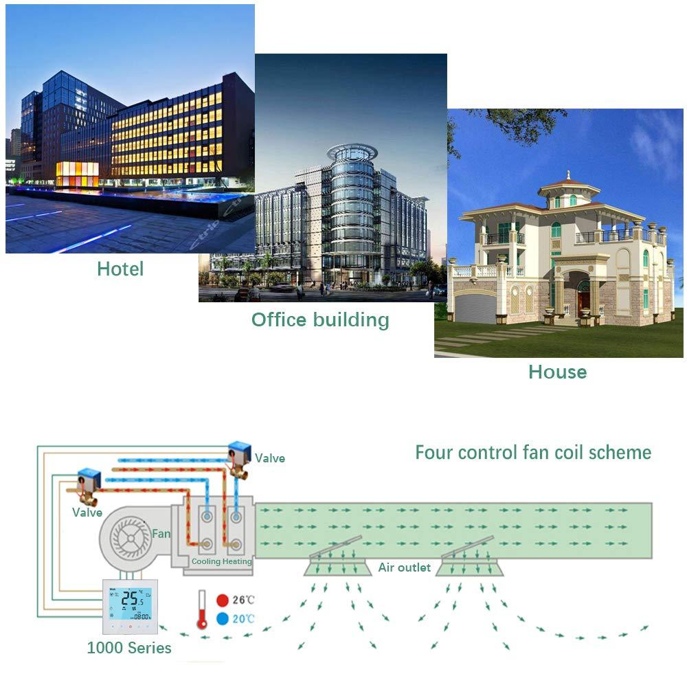 Termostato WIFI Central BECA Cuatro de tuber/ía de calefacci/ón refrigeraci/ón Control inal/ámbrico Programable HVAC Termostato de la habitaci/ón
