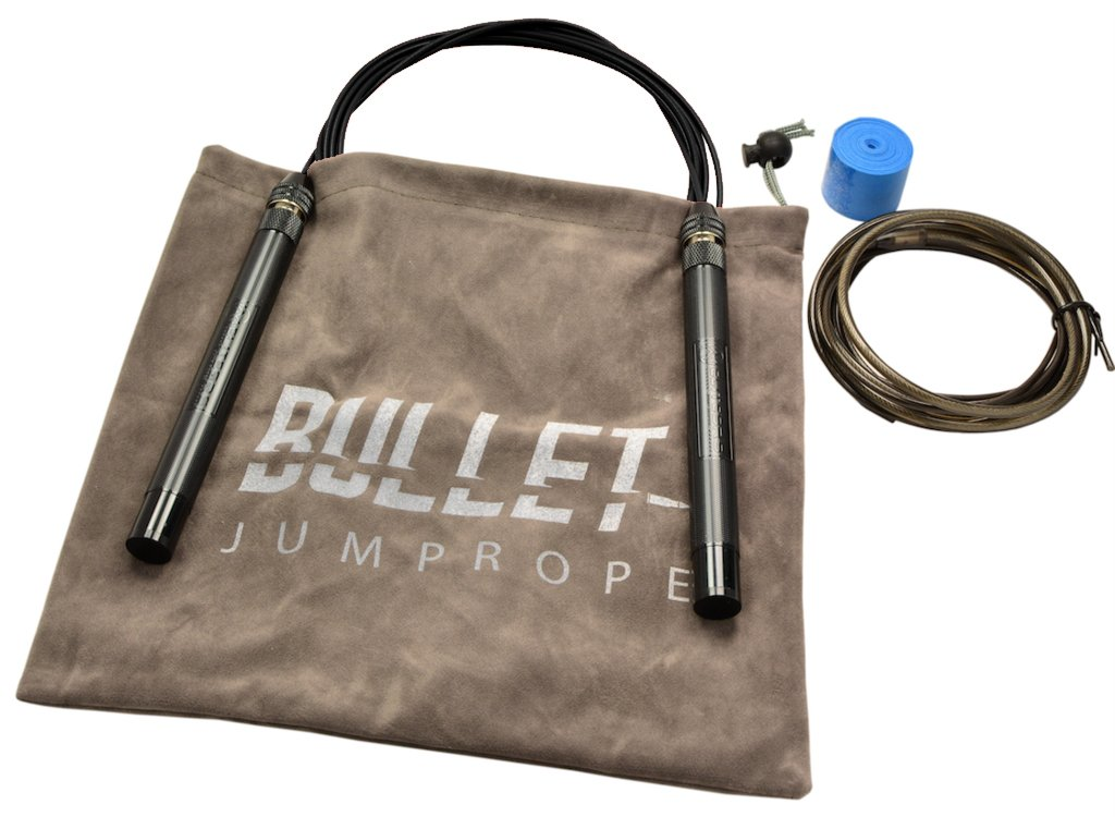 EliteSRS Bullet FIT Jump Rope - Premium Fitness Skipping Rope - 6.3'' Anodized Aluminium Handles - Slip-Protect Knurl Grip - Includes Replacement Cable, Grip Tape & Storage (Black Handles/Black Cable) by EliteSRS (Image #2)