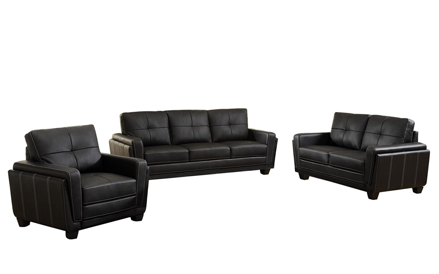 Furniture of America Mitcham 3-Piece Leatherette Sofa Set, Black