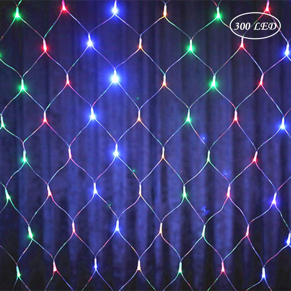 LED RGB Fairy Lights 8 Modes Colourful Romantic Net Christmas Festive Outdoor Wedding Ideal for Room Window Lights Net Transparent Lamp Chain EU 4.5M * 1.5M 300LEDs EU 4.5M * 1.5M 300LEDs Lispeed