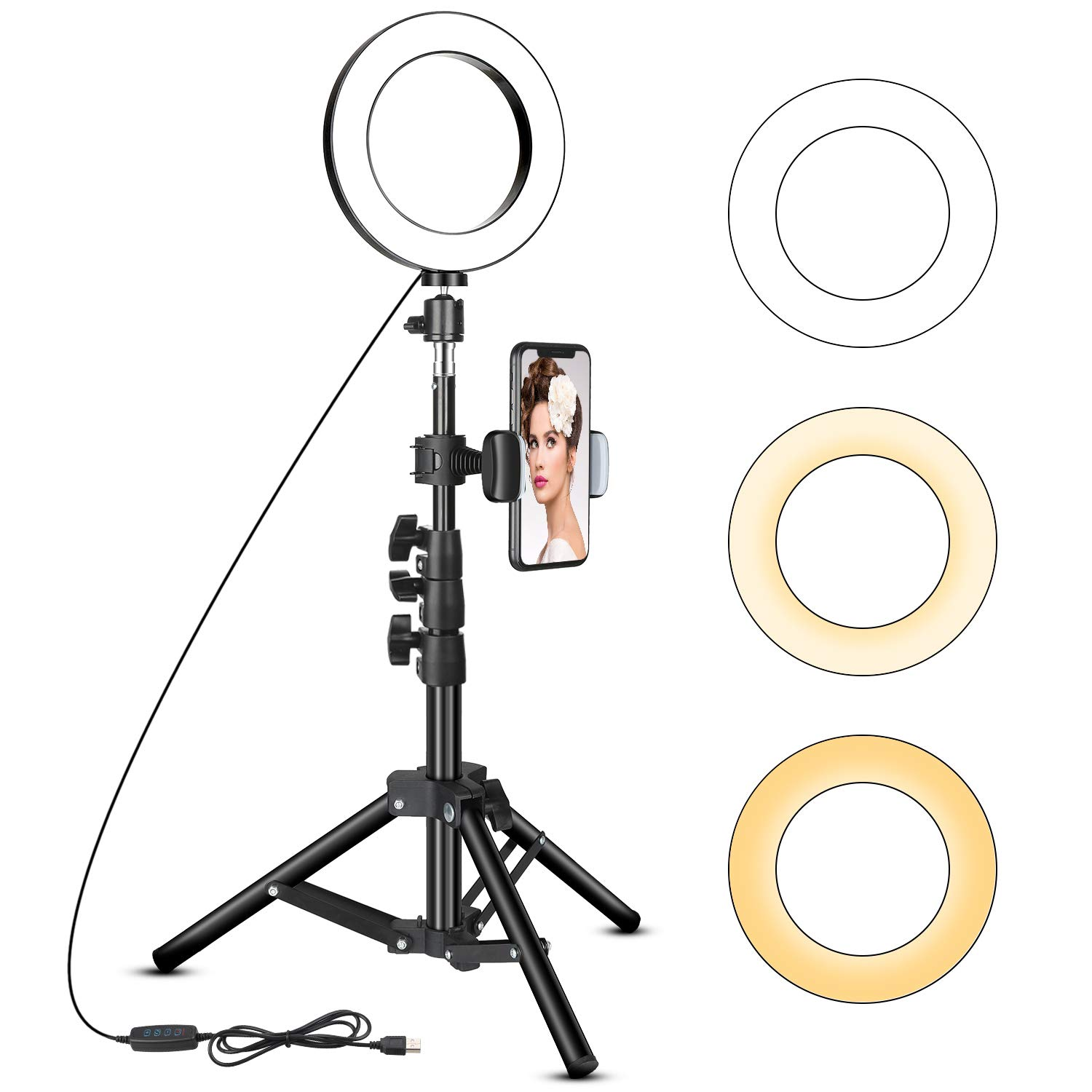 6 inch Ring Light with Tripod Stand - Rovtop LED Camera Selfie Light Ring with iPhone Tripod and Phone Holder for Video Photography Makeup Live Streaming, Compatible with iPhone and Android Phone
