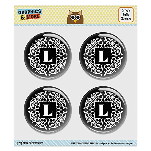 (Puffy Bubble Dome Scrapbooking Crafting Stickers - Letter L Initial Black White Scrolls - Set of 4-2.0