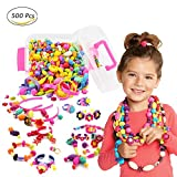 WTOR Pop-Arty Beads 500Pcs Snap-Together Kid DIY Bead Toys made Jewelry Necklaces/Bracelets/Rings/Crafts as Birthday/Christmas Gift,Encourages Children Creations and Fashion