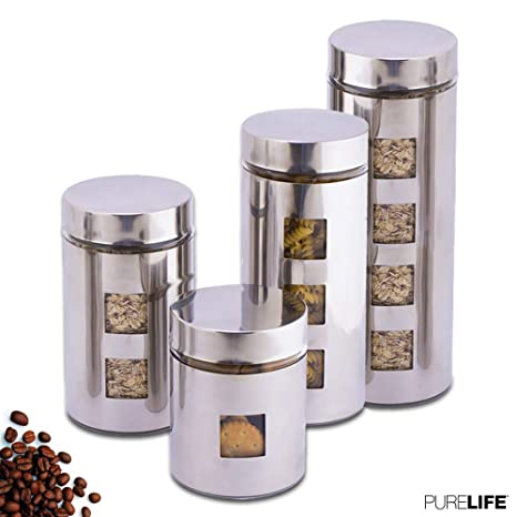 Etonnant Canisters Sets For The Kitchen By PureLife   Glass Food Storage Containers  W/Airtight Lids