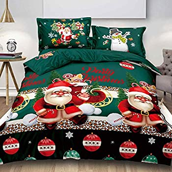 NANKO Christmas Queen Duvet Cover 3 Piece, New Year Holidays Green Color Bed Set 90x90 Santa Claus Pattern Microfiber Comforter Cover with Zipper Closure, Ties - Modern Style for Men Women Teen,