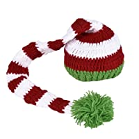 Per Babies Hand Knitted Hat Pom-pom Hat with Crochet ELF Long Tail Christmas Photography Props for Newborns Baby