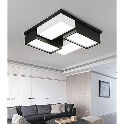 ANGEELEE À carreaux noirs et blancs chambre salon Arts Creative Lampes lumière Plafond LED et d'un élégant restaurant moderne et minimaliste de l'étude 45*45cm Lampe