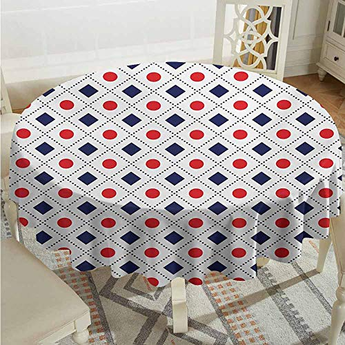 XXANS Round Outdoor Tablecloth,Americana,Big Red Dots Squares and Dashed Cross Lines in Flag Colors Print,for Events Party Restaurant Dining Table Cover,67 INCH,Navy Blue Red and White