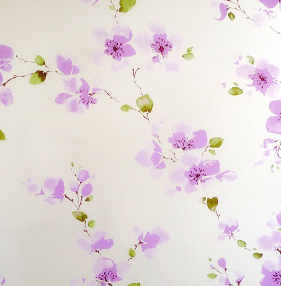 Amao Purple Plum Blossom Decoration Window Film Privacy Non-Adhesive Reusable Static Cling for Home Office Valentine's Day 17.7''x78.7'' NJF88999