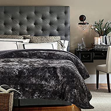 Chanasya Faux Fur Bed Throw Blanket - Super Soft Fuzzy Cozy Warm Fluffy Beautiful Color Variation Print Plush Sherpa Microfiber Gray Blanket (92  x 85 ) - QUEEN/FULL