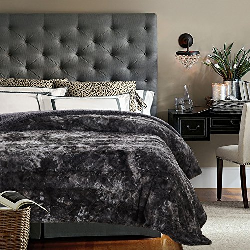 Chanasya Faux Fur Bed Throw Blanket - Super Soft Fuzzy Cozy Warm Fluffy Beautiful Color Variation Print Plush Sherpa Microfiber Gray Blanket (86