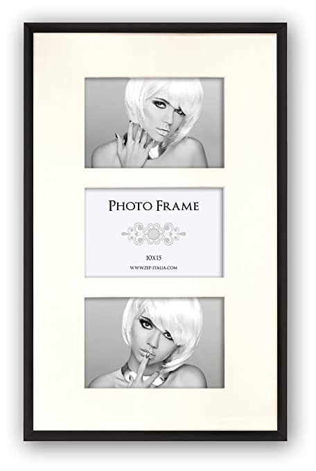 """Photo//Picture Frame with White Triple 7x5/""""Aperture Mount in Narrow Black Finish"""