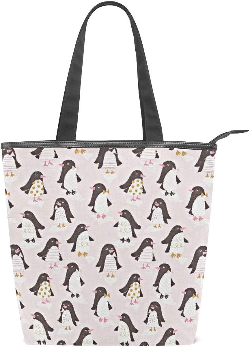 Women Large Tote Top Handle Shoulder Bags Penguin Parade Pink Satchel Handbag