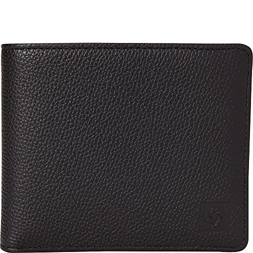 (Samsonite Two Compartment Leather Wallet with Removable ID Case (Black))
