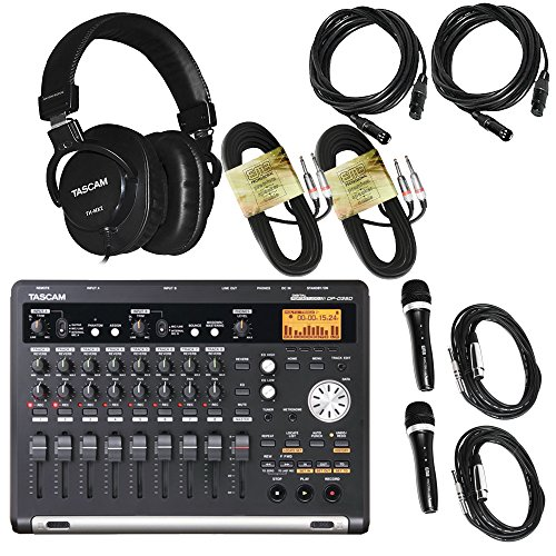 Tascam DP-03SD Digital Portastudio 8-Track Recorder + 2 EMB