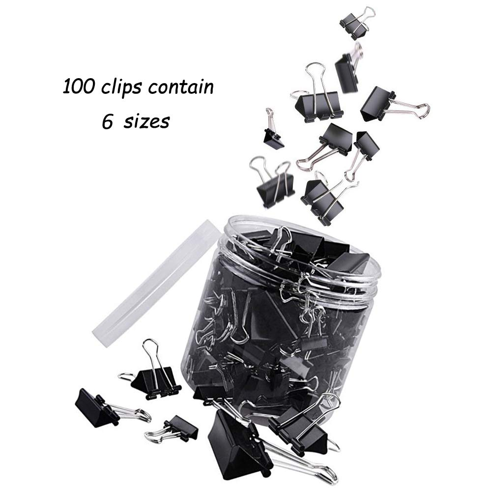 YILUREN Binder Clips, Paper Clamp Assorted Sizes for Office/School Supplies 100 Counts (Black)