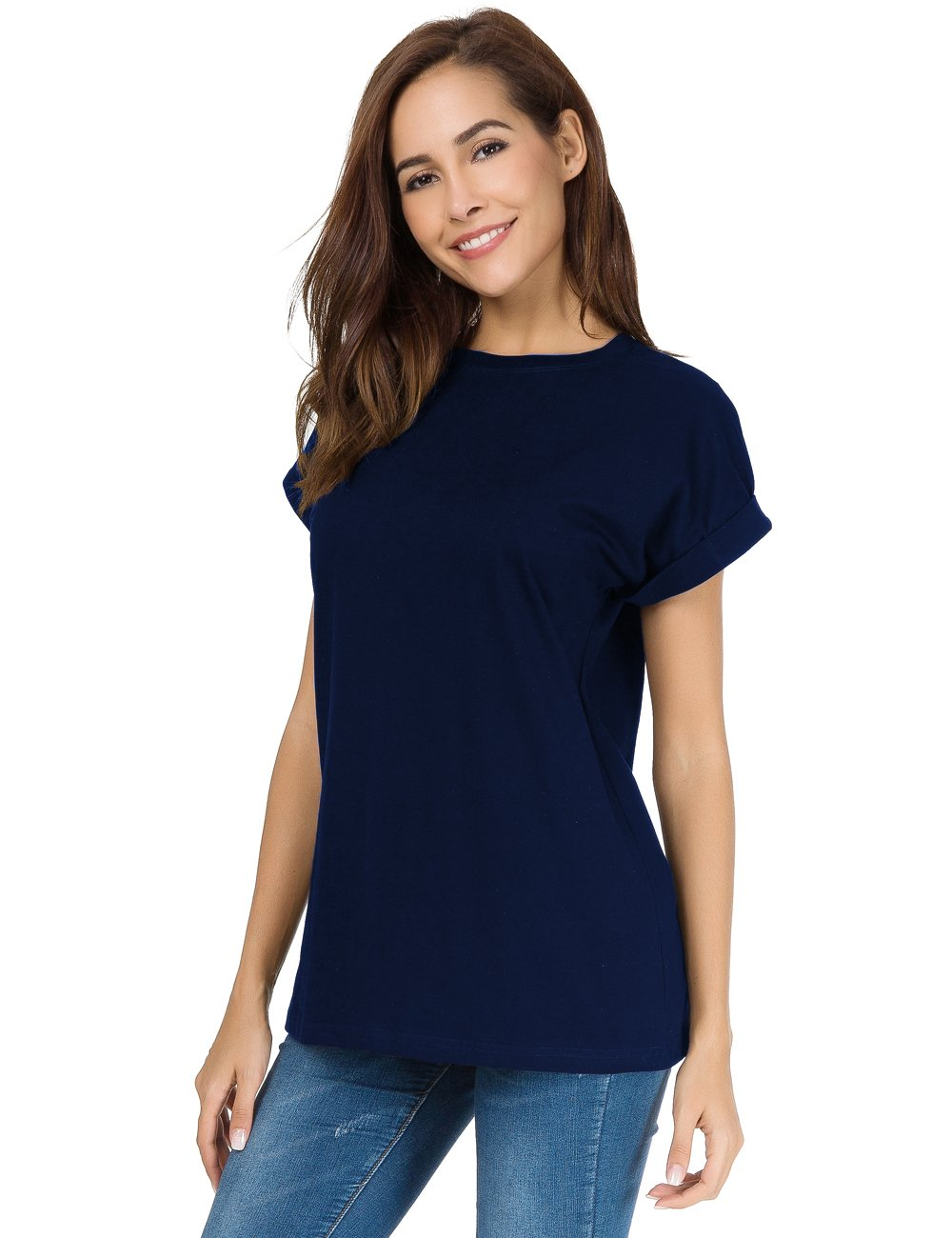 LUSMAY Womens Short Sleeve Loose Fitting T Shirts Cotton Casual Tops