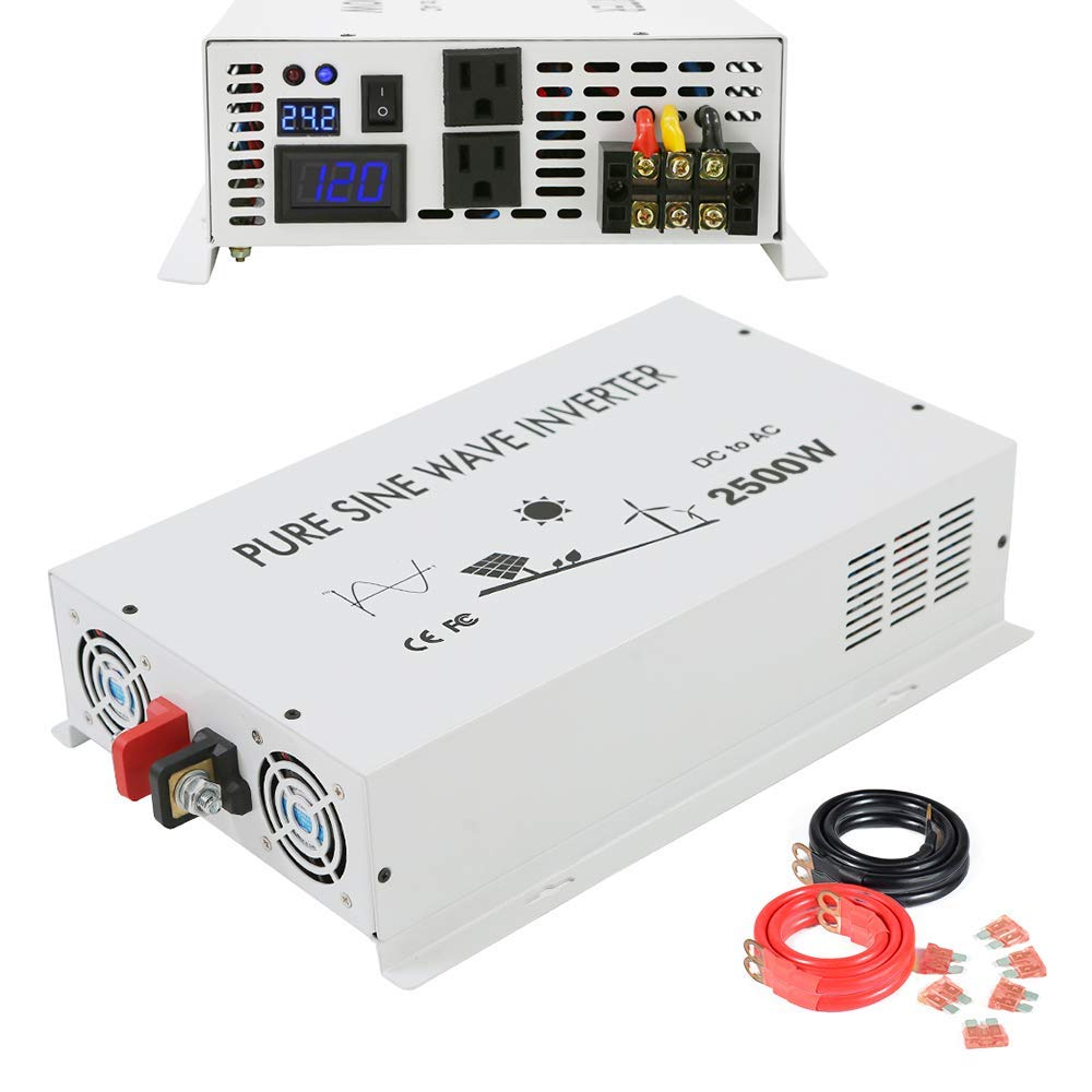 Wzrelb Dc To Ac Converter Off Grid Pure Sine Wave Power Inverter Circuit Diagram In Addition Generator 2500w 24v 120v Garden Outdoor