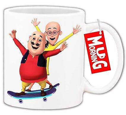 Mug Morning Motu Patlu Mugs for Kids | Motu Patlu Coffee Cup and Mugs Gifts  | Cartoons Mug and Milk Cup for Child| Ceramic Printed Custom Design Under