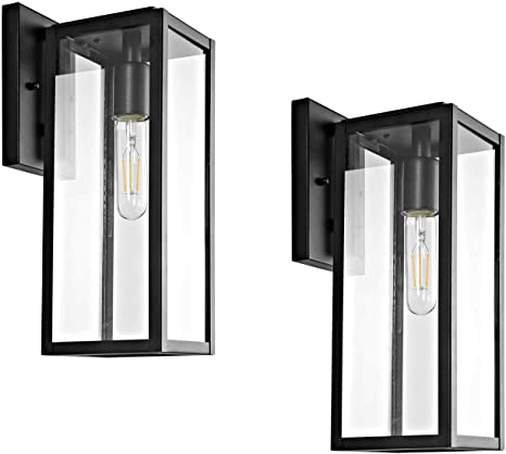 Bestshared Outdoor Wall Lantern 15 1 Light Exterior Wall Sconce Light Fixtures Wall Mounted Single Light Black Wall Lamp With Clear Glass 2 Pack Amazon Com